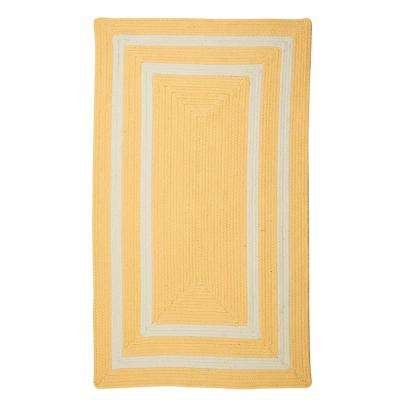 Griffin Border Yellow/White 2 ft. x 3 ft. Braided Indoor/Outdoor Area Rug