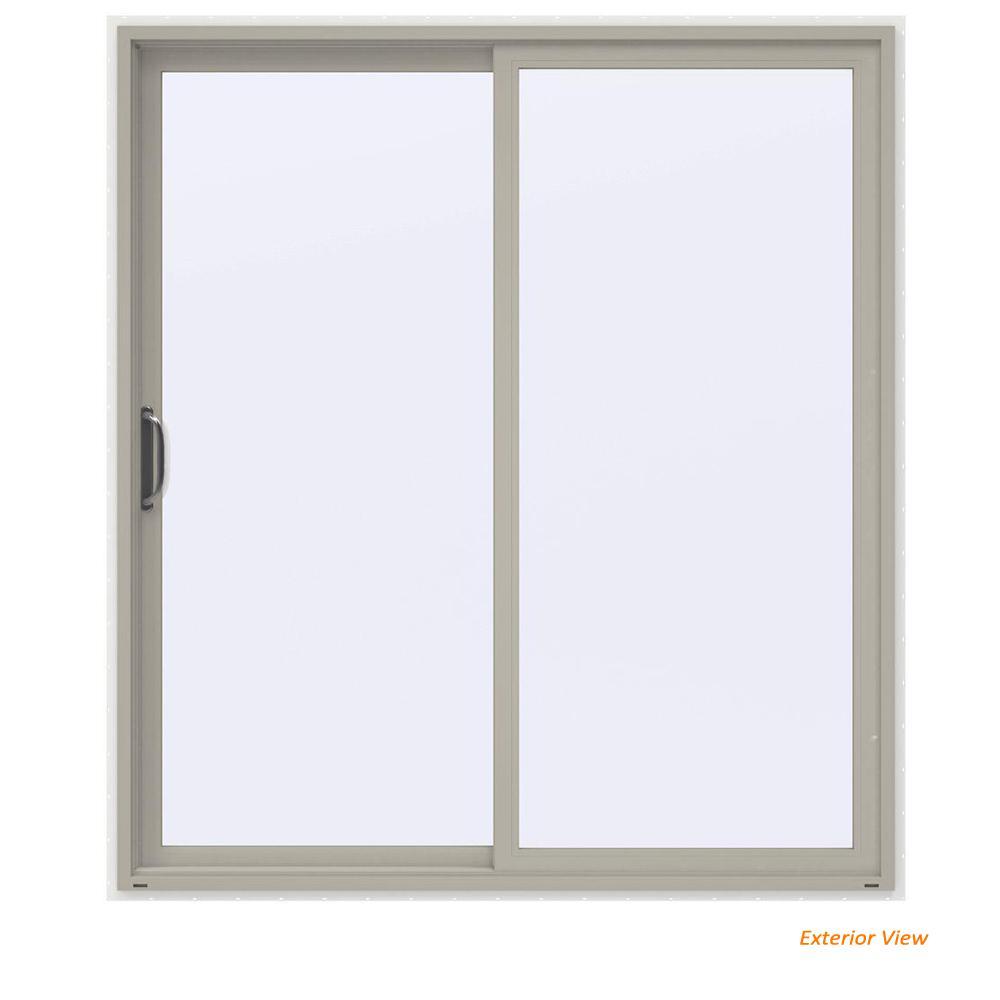 72 in. x 80 in. V-4500 Contemporary Desert Sand Vinyl Left-Hand Full Lite Sliding Patio Door w/White Interior