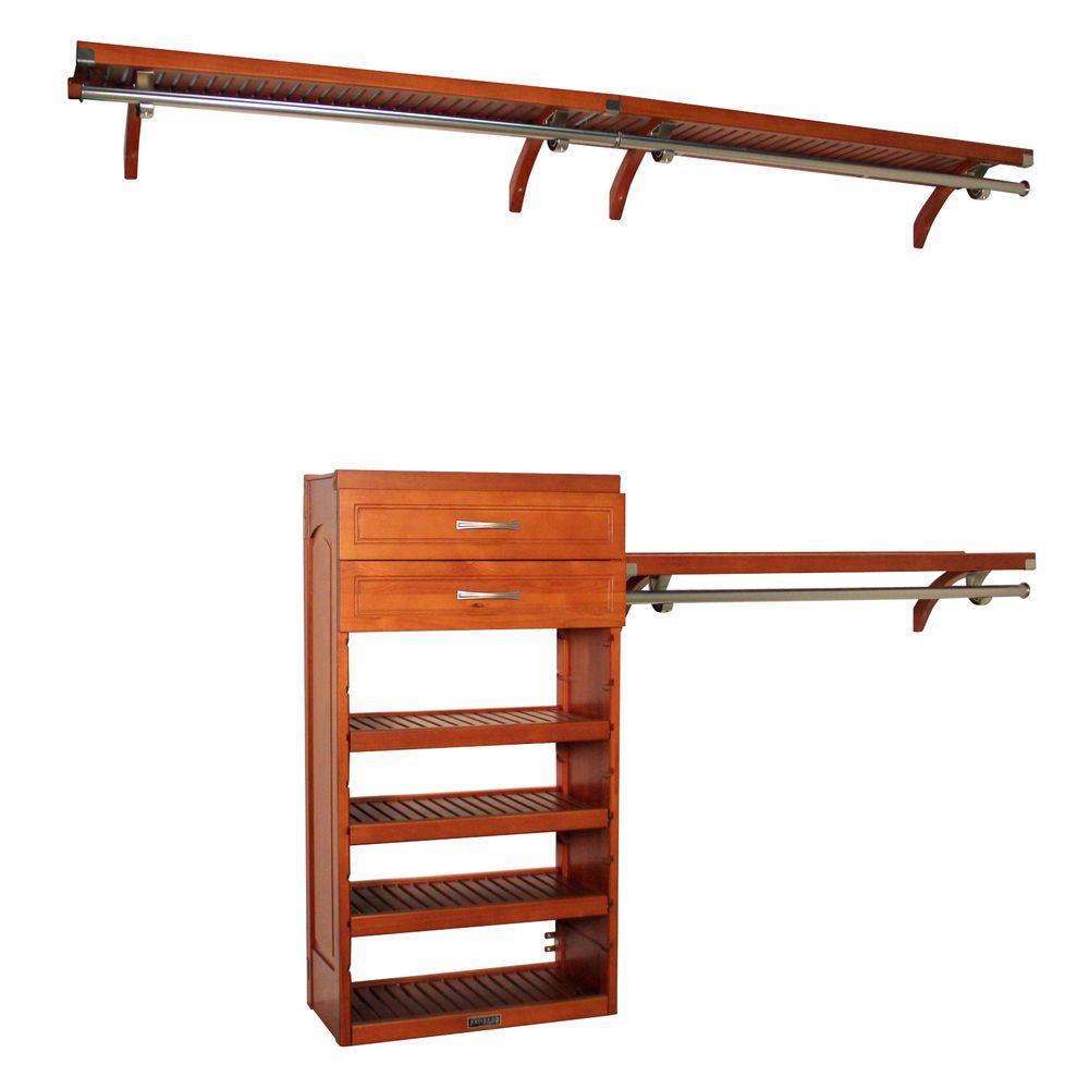 John Louis Home 12 in. Deep Woodcrest Closet System in Caramel