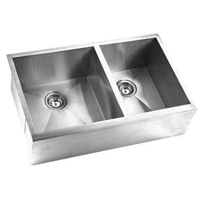 Hardy Undermount Stainless Steel 33 in. Double Bowl Kitchen Sink