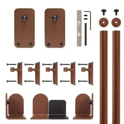 Basic Rectangle New Age Rust Rolling Door Hardware Kit for 3/4 in. to 1-1/2 in. Door