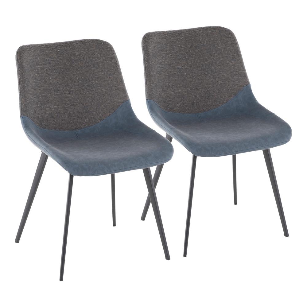 Lumisource Outlaw Industrial 2 Tone Chair In Blue Faux Leather And