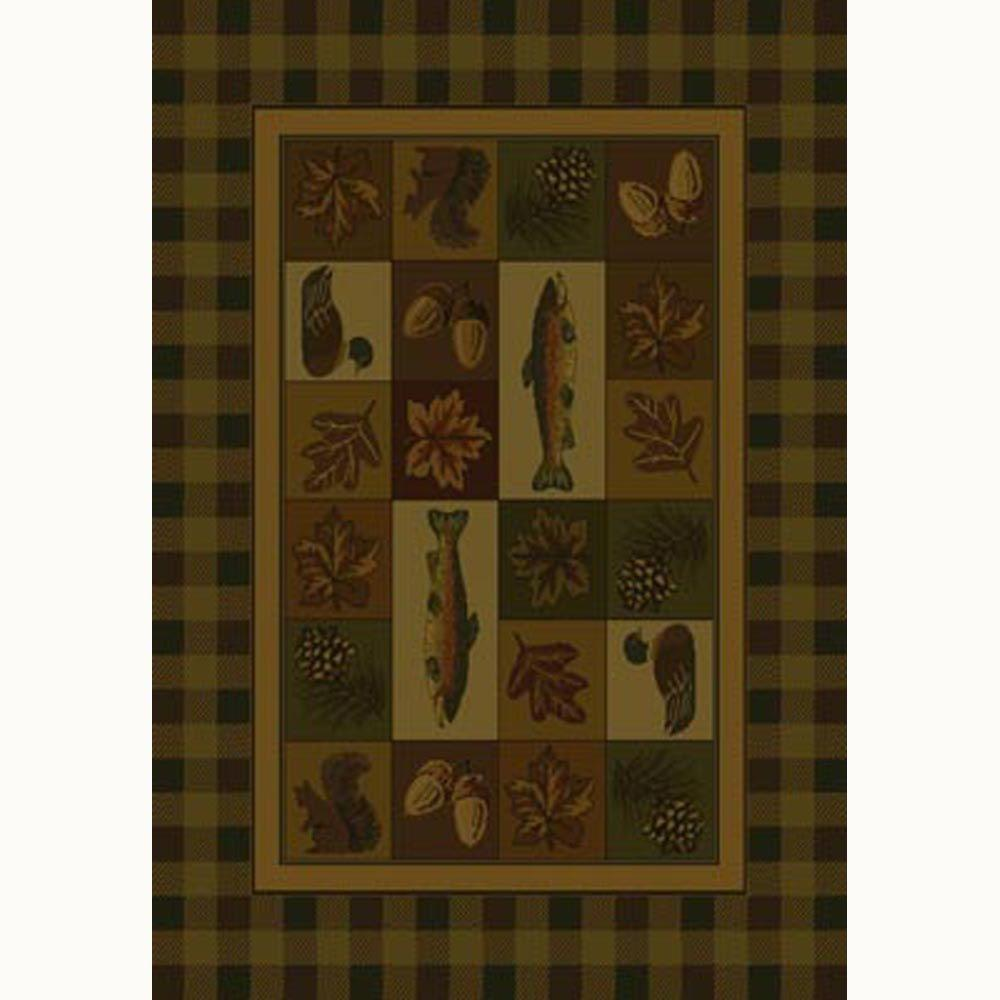 United Weavers Timberland Brown 7 ft. 10 in. x 10 ft. 6 in. Contemporary Lodge Area Rug