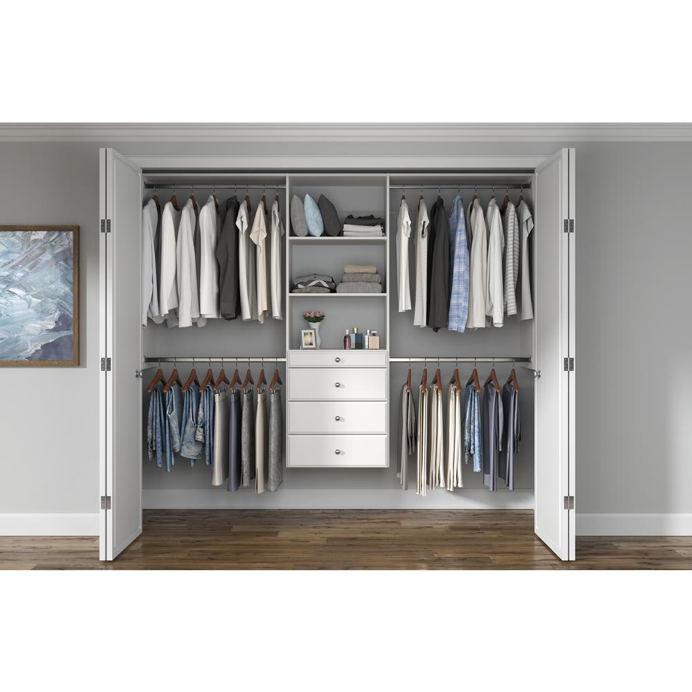 Closet Evolution Ultimate 60 in. W - 96 in. W White Wood Closet System