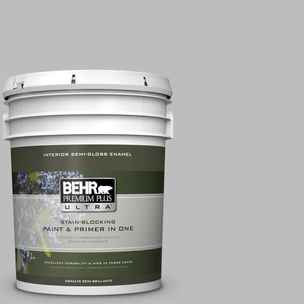 5 gal. #HDC-NT-23G Alaskan Gray Semi-Gloss Enamel Interior Paint