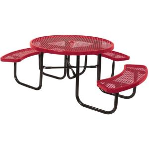 Portable Red Diamond Commercial Round ADA Picnic Table by