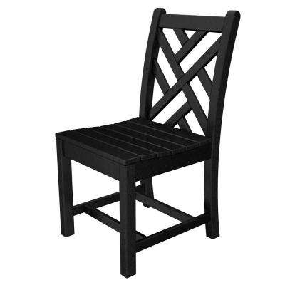 Chippendale Black All-Weather Plastic Outdoor Dining Side Chair
