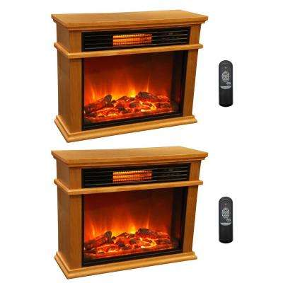 LifePro 3 Element Portable Electric Infrared Fireplace Heaters (Pair)