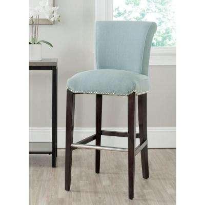 Seth 29.3 in. Sky Blue Cushioned Bar Stool