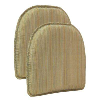 Gripper Non-Slip 15 in. x 16 in. Harmony Sand Stripe Chair Cushions (Set of 2)