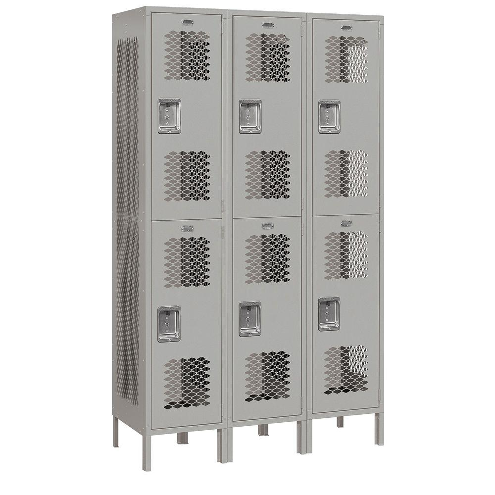 Salsbury Industries 82000 Series 45 in. W x 78 in. H x 18 in. D 2-Tier Extra Wide Vented Metal Locker Assembled in Gray