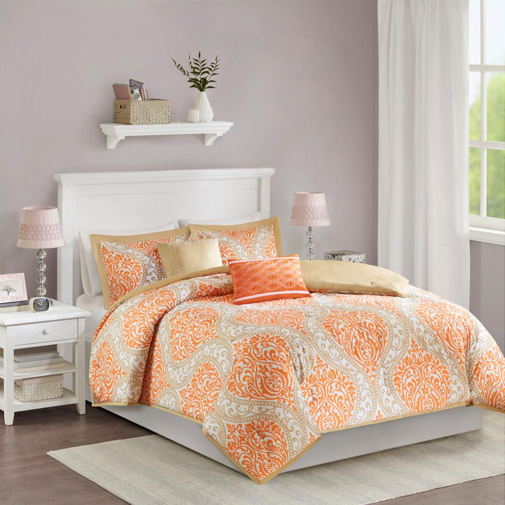 60533a26022 Intelligent Design Sabrina 5-Piece Orange Full Queen Damask Comforter Set