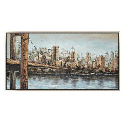 """New York Cityscape Skyline in. Silver Wooden Floating Frame Hand Painted Acrylic Wall Art 55 in. x 28 in."