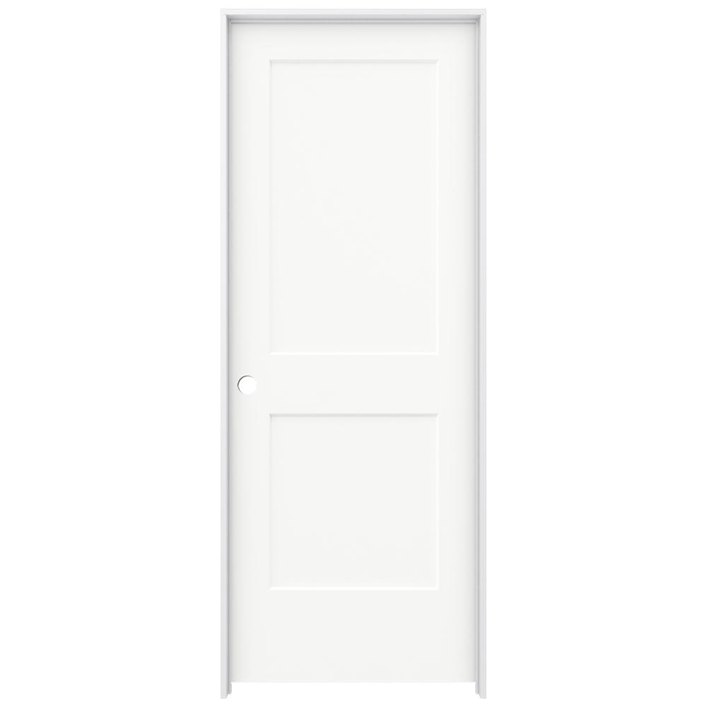 Jeld Wen 30 In X 80 In Monroe White Painted Right Hand Smooth Solid Core Molded Composite Mdf