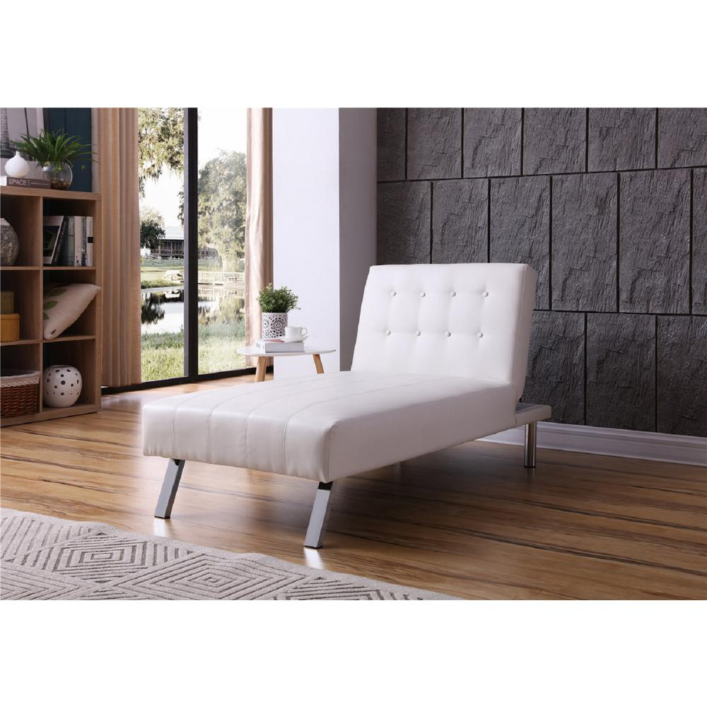 White Button Tufted Back Convertible Chaise Lounger With