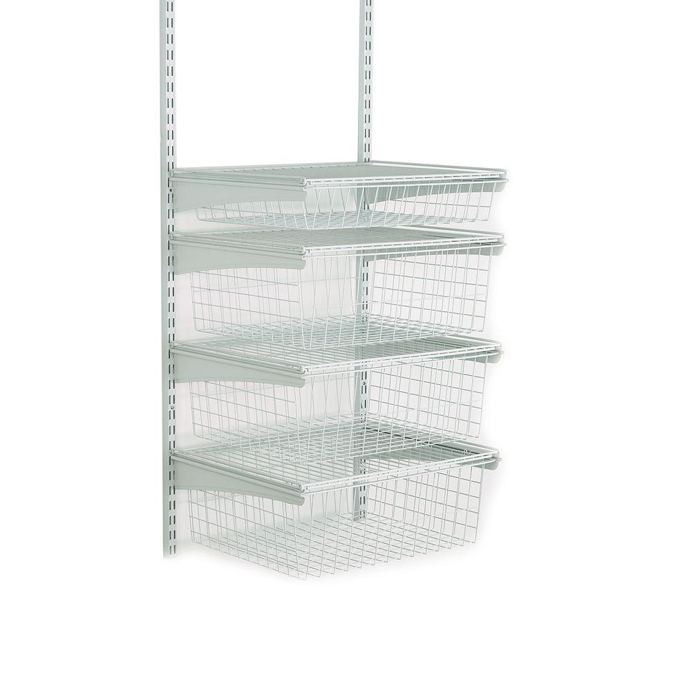 H Shelftrack 4 Drawer Kit Steel Closet System In White