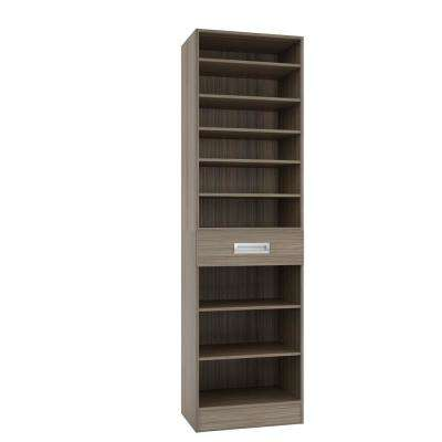 15 in. D x 24 in. W x 84 in. H Firenze Platinum Melamine with 9-Shelves and Drawer Closet System Kit