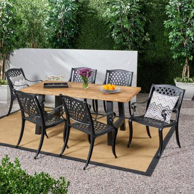 Dory Natural Oak 7-Piece Metal Rectangle 30 in. Outdoor Dining Set