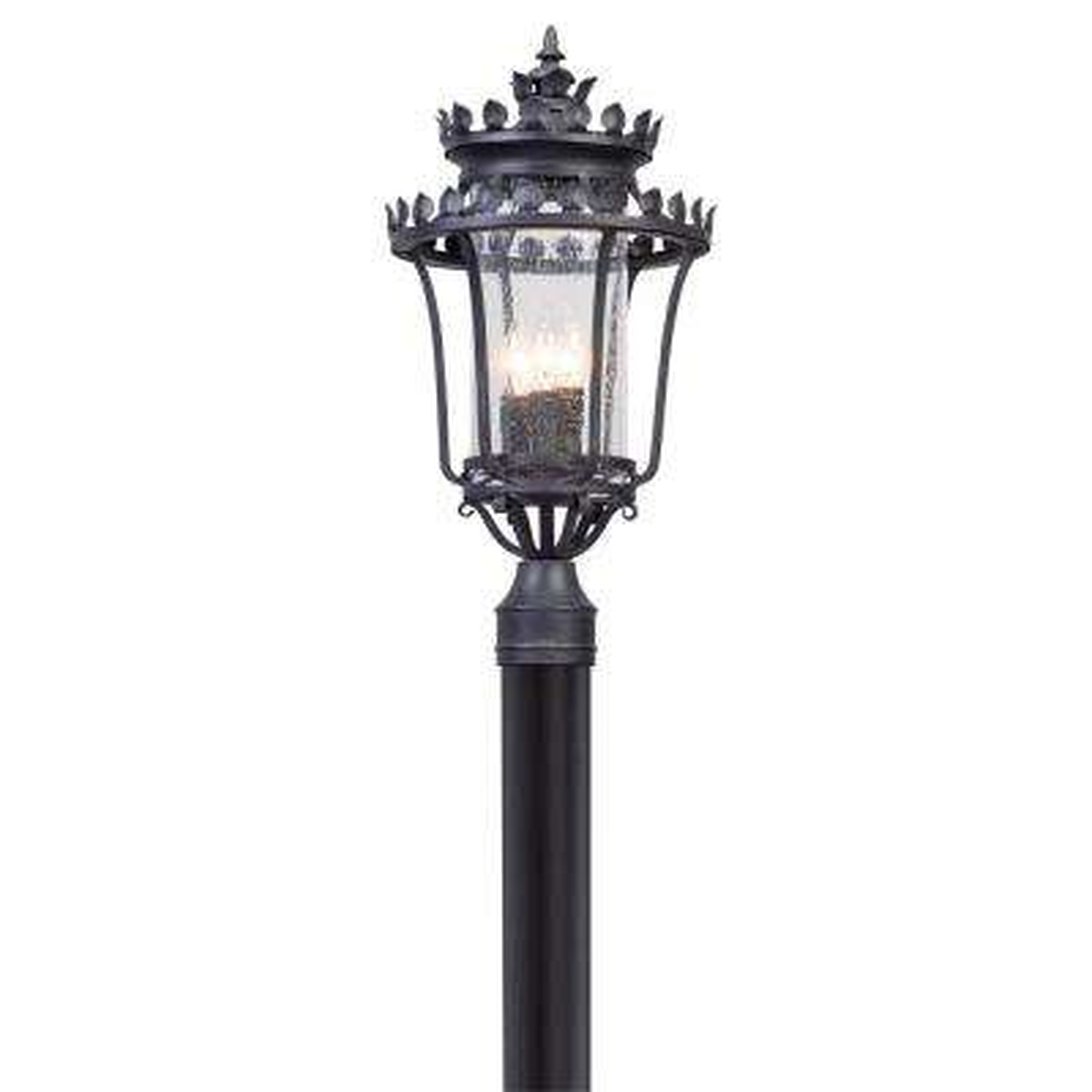 Greystone 3-Light Outdoor Forged Iron Post Light