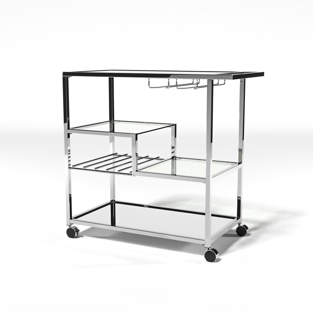 Furniture Of America Daves Chrome Serving Cart With