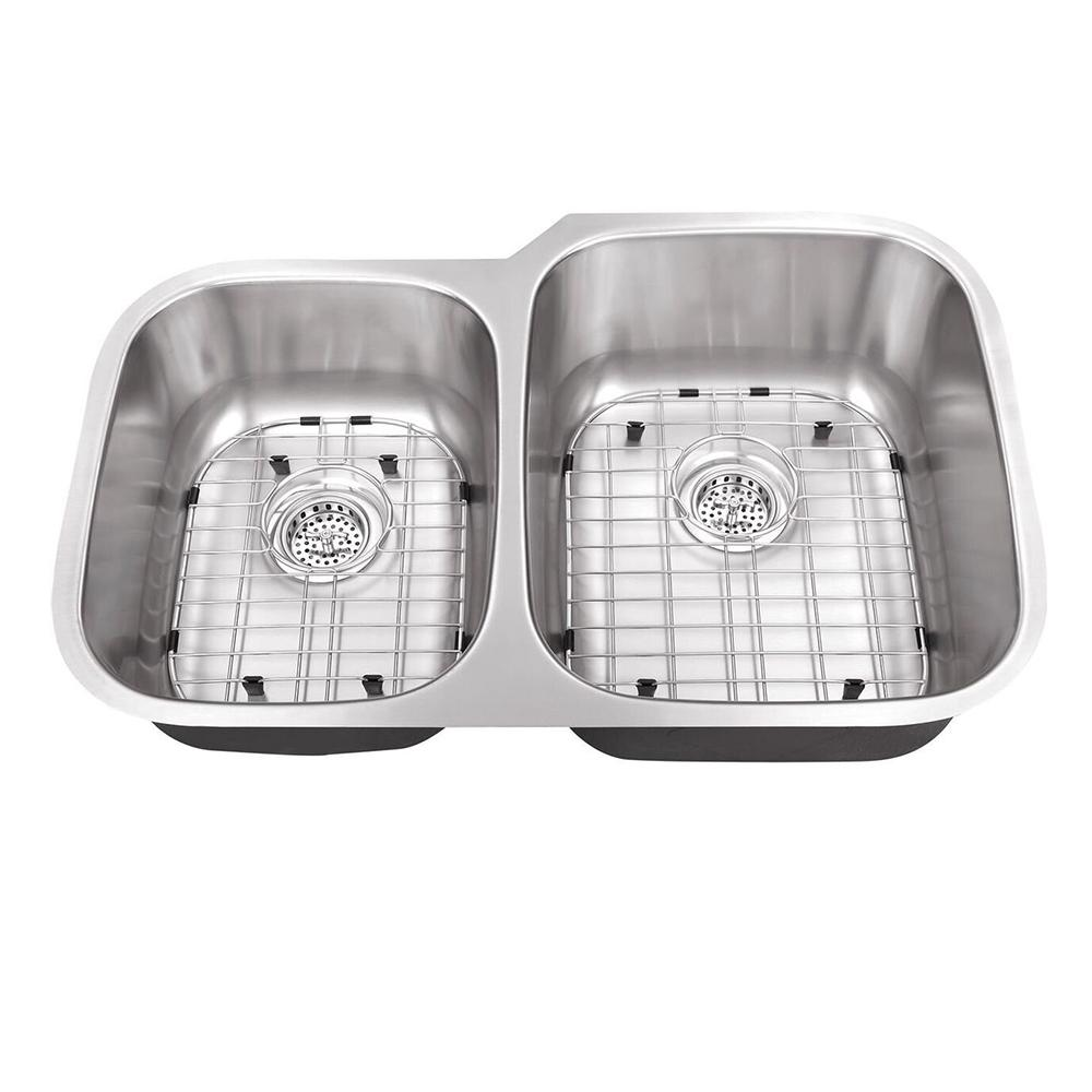 Undermount 18-Gauge Stainless Steel 32 in. 0-Hole 40/60 Double Bowl Kitchen