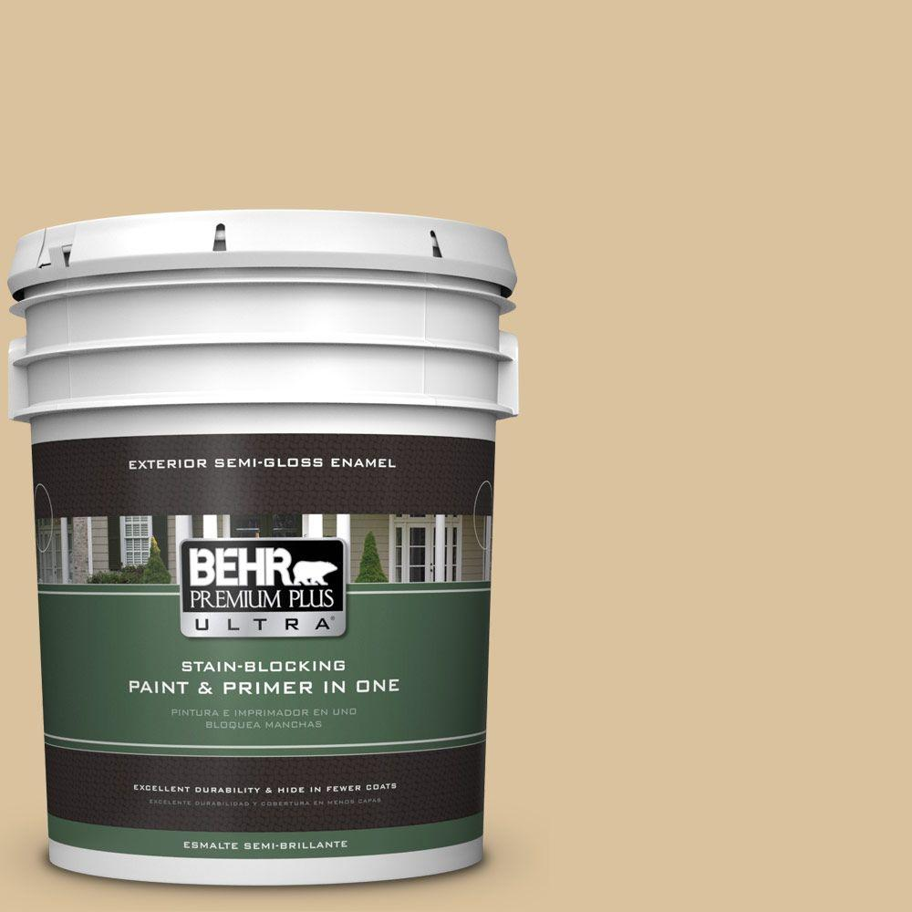 BEHR Premium Plus Ultra 5-gal. #S310-3 Natural Twine Semi-Gloss Enamel Exterior Paint