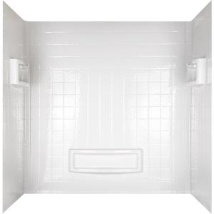 Allura 31 In X 60 1 2 In X 58 In 5 Piece Easy Up Adhesive Tub Wall In White 40184 The Home Depot