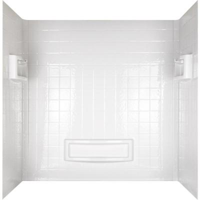 Distinction 32 in. x 60 in. x 60 in. 3-Piece Easy Up Adhesive Tub Wall in High Gloss White