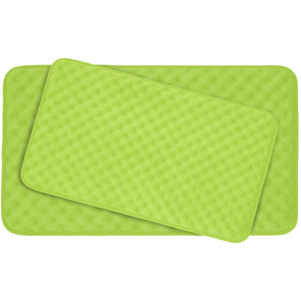 BounceComfort Massage Lime Memory Foam 2 Piece Bath Mat Set