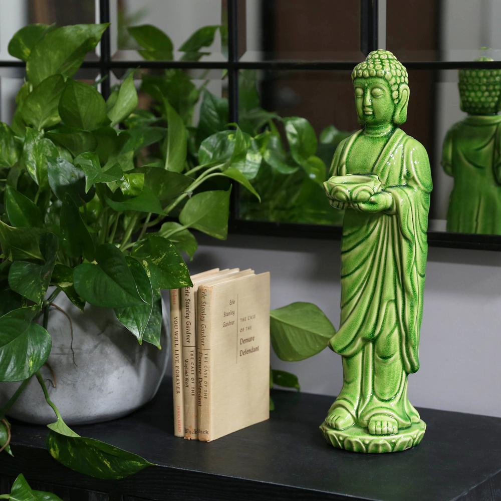 Green Candle Ceramic Decorative Lantern