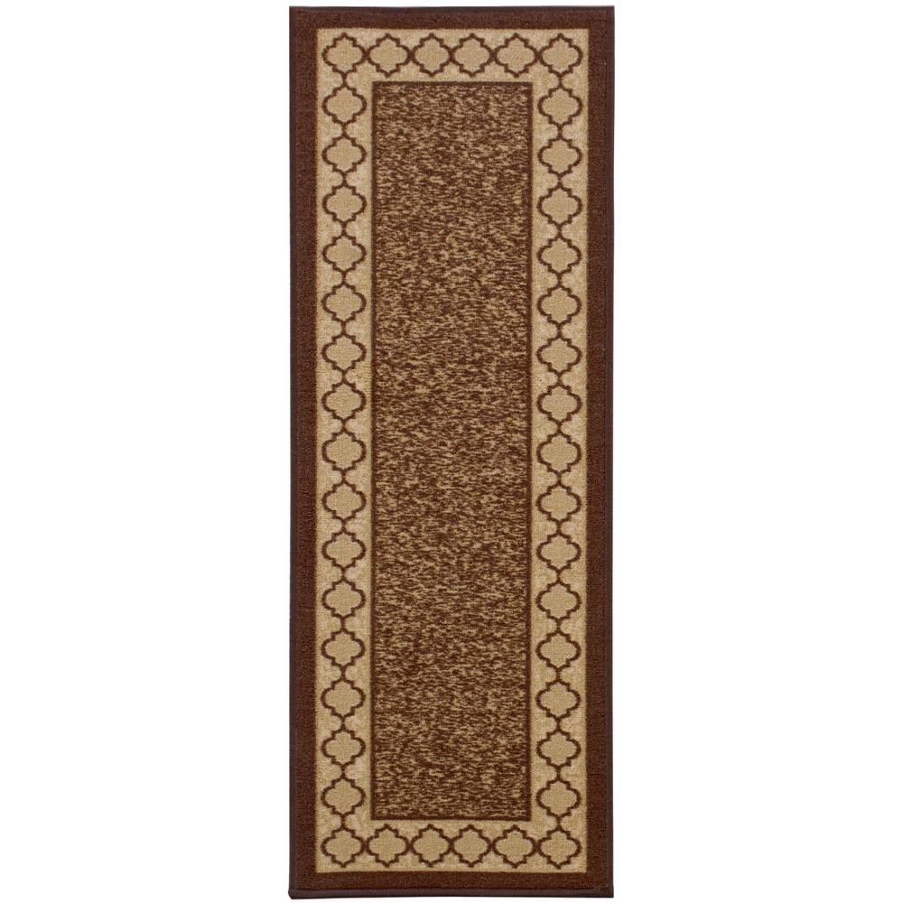 Anne Collection Trellis Border Design Brown 1 ft. 8 in. x