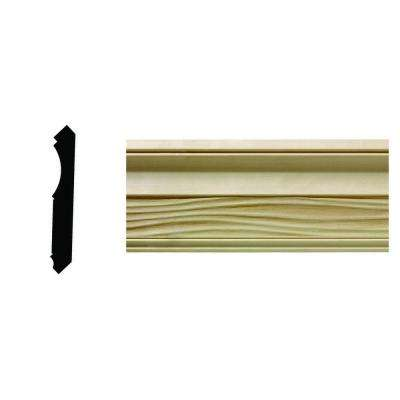 1/2 in. x 3-21/32 in. x 96 in. Hardwood White Unfinished Wave Crown Moulding