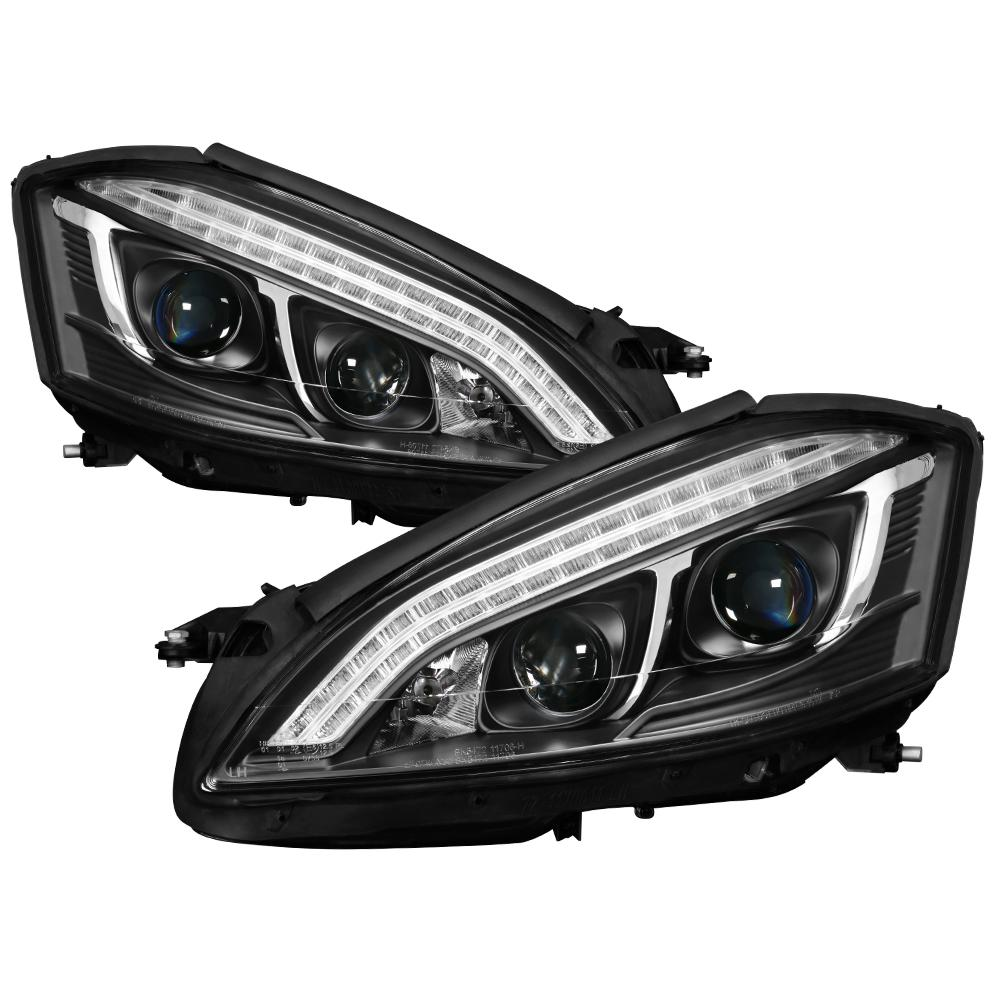 Spyder Auto Mercedes Benz W221 S Class 07-09 Projector Headlights -  Xenon/HID Model Only - DRL LED - Black