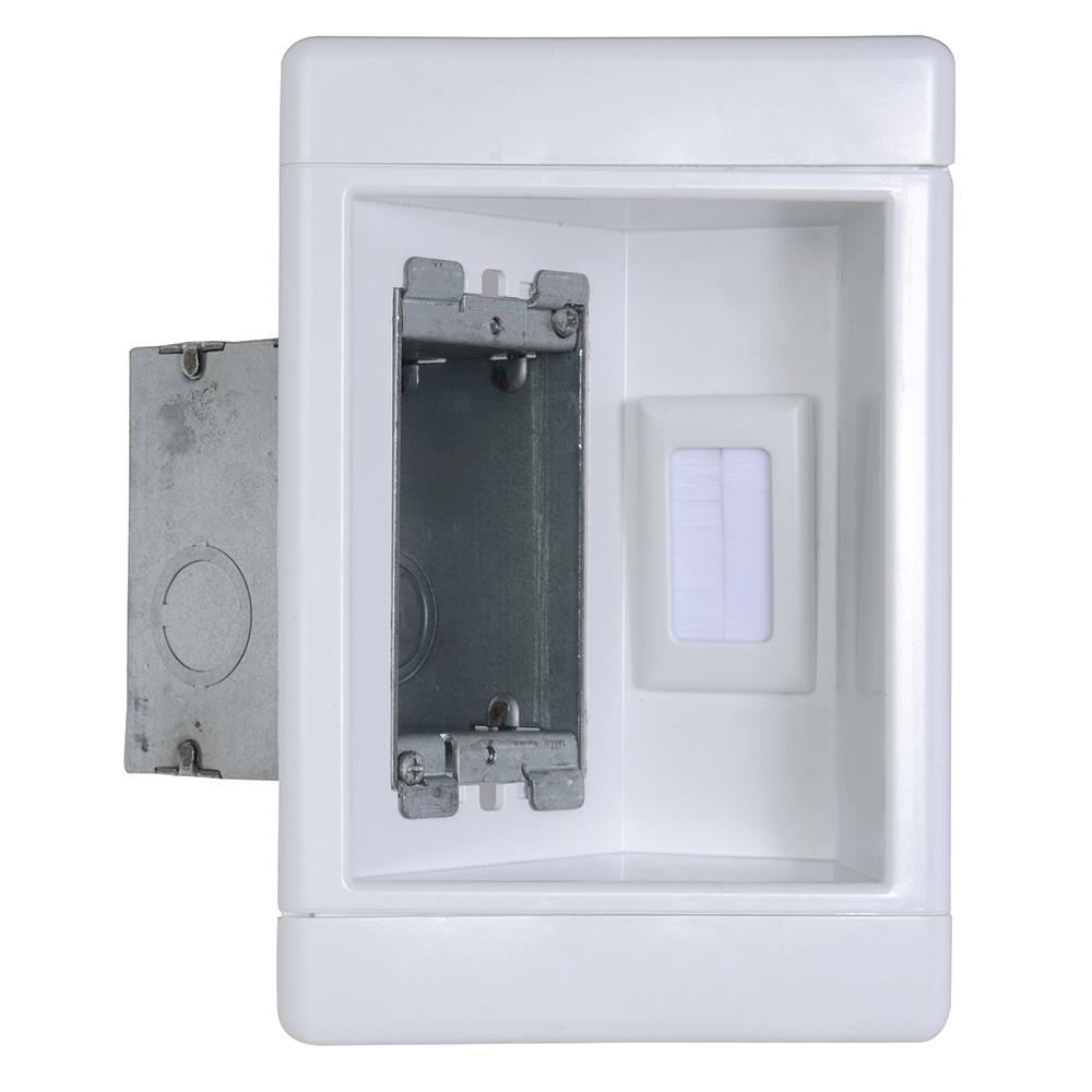 1 gang recessed tv media box with low voltage brush insert and metal electrical box, white  home structured wiring panel wiring
