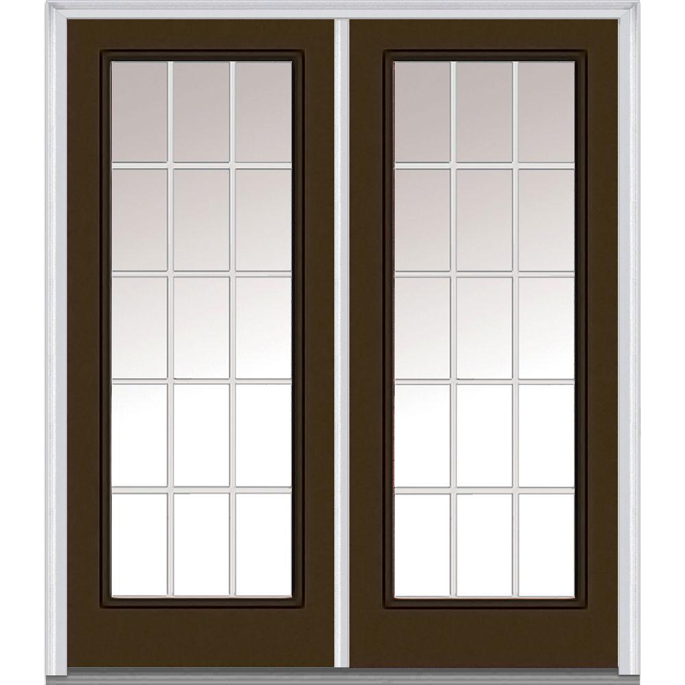 MMI Door 64 in. x 80 in. White Internal Grilles Right-Hand Inswing Full Lite Clear Painted Fiberglass Smooth Prehung Front Door