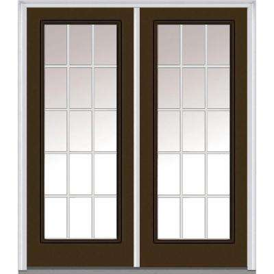 64 in. x 80 in. White Internal Grilles Right-Hand Inswing Full Lite Clear Painted Fiberglass Smooth Prehung Front Door