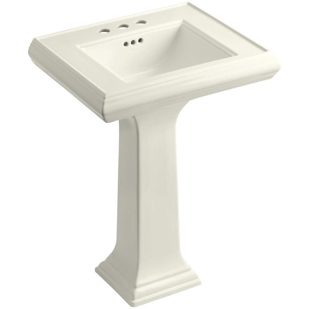 Memoirs Ceramic Pedestal Sink in Biscuit with Overflow Drain