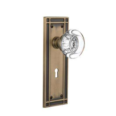 Mission Plate with Keyhole 2-3/8 in. Backset Antique Brass Privacy Clear Crystal Glass Door Knob