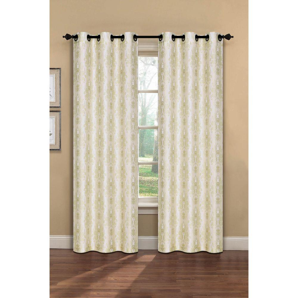 Semi-Opaque Meridith Printed Faux Silk 84 in. L Grommet Curtain Panel
