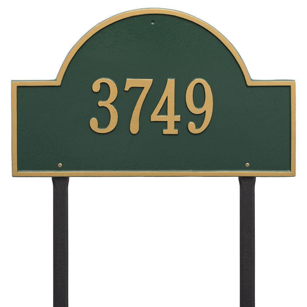 Arch Marker Estate Green/Gold Lawn 1-Line Address Plaque