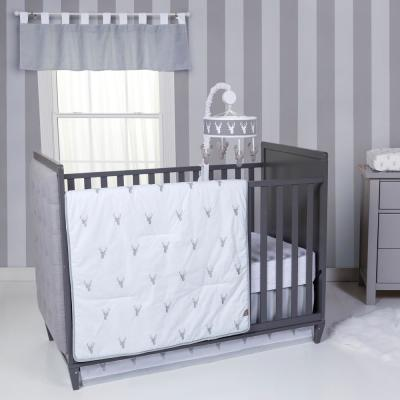 Stag Head 3-Piece Grey, White Geometric Polyester Crib Bedding Set