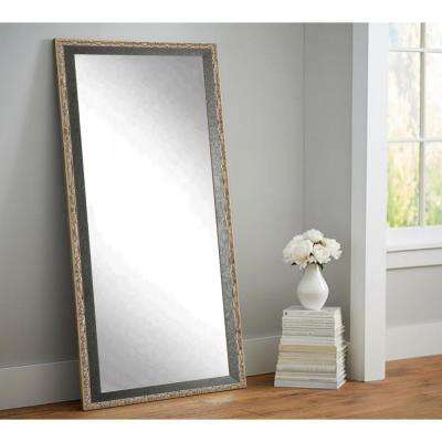 Antique Noble Black and Pewter Tall Framed Mirror