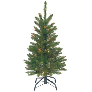 3 ft kingswood fir wrapped pencil artificial christmas tree with clear lights - 3 Ft Christmas Tree