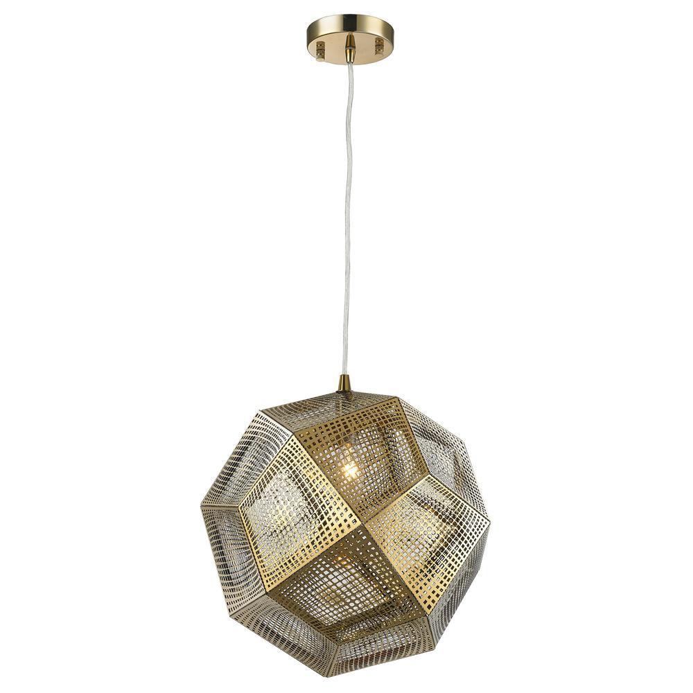 Worldwide Lighting Geometrics 1 Light Rose Gold Pendant