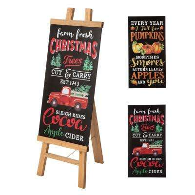 13 in. L x 32 in. H Duble Sided Wooden Easel Porch Sign with Changable Sided Sign Board (Fall and Christmas)