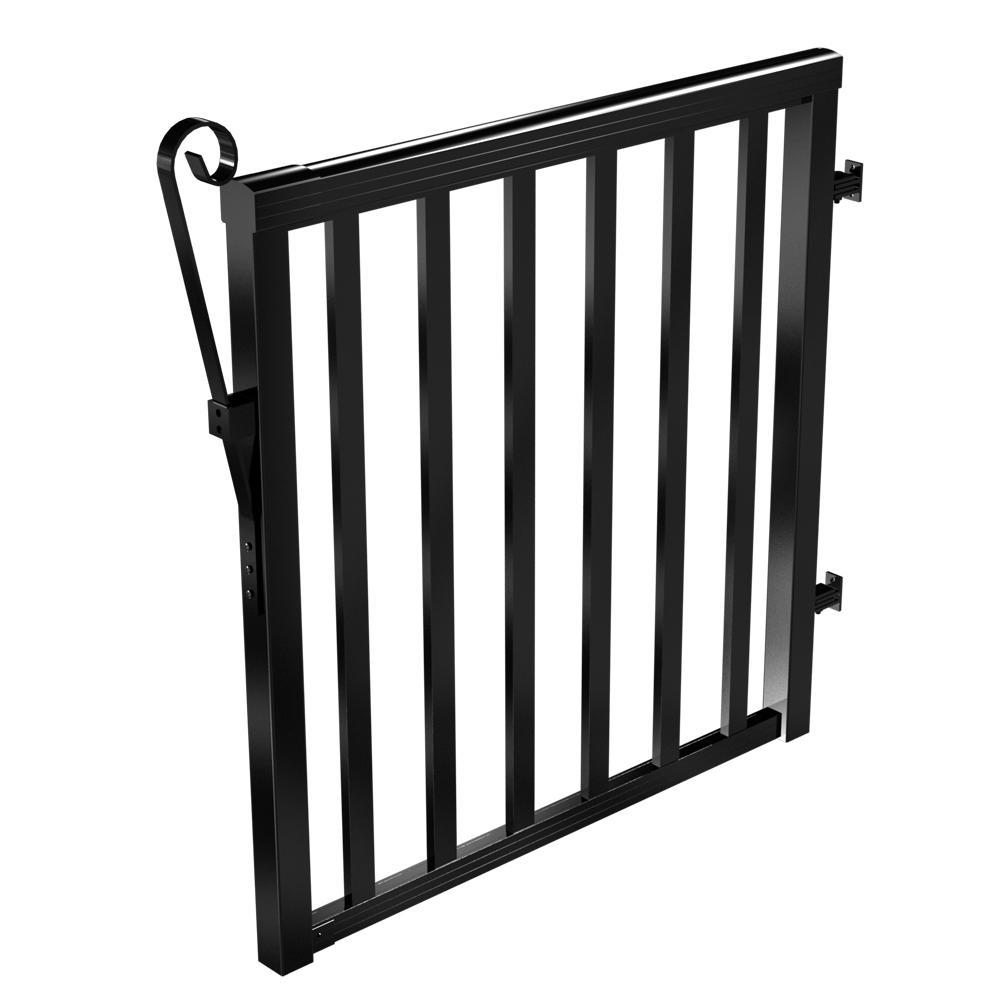 Aluminum Wide Picket Gate in Black