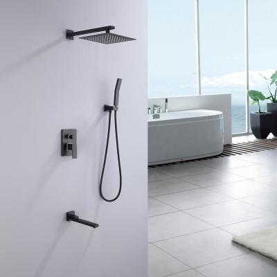 10 in. Complete Shower System with Bath Tub Faucet and Rough-in Valve in Matte Black
