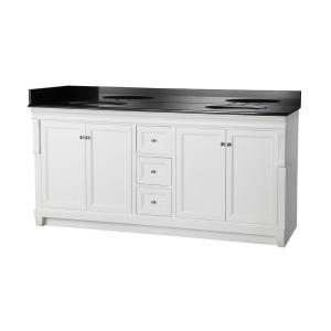 Foremost Naples 72 inch W x 22 inch D Double Bath Vanity in White with Granite Vanity Top... by Foremost
