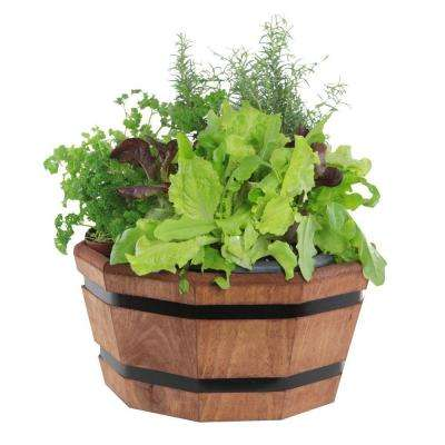 17 in. Dia Shallow Wood Barrel Tub