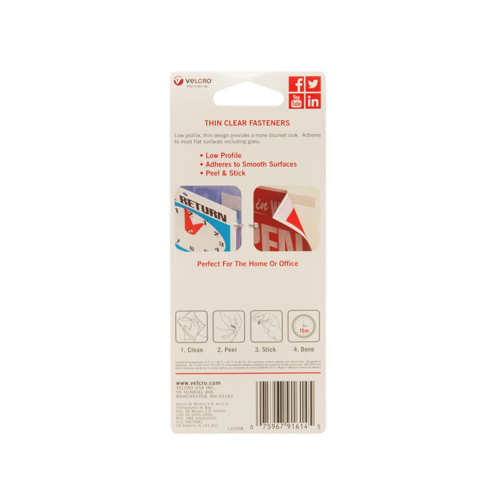 VELCRO  General Purpose //low profile fasteners 15 x 3//4 clear